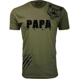 Men's Papa Bear Scratch T-Shirt Military Green New